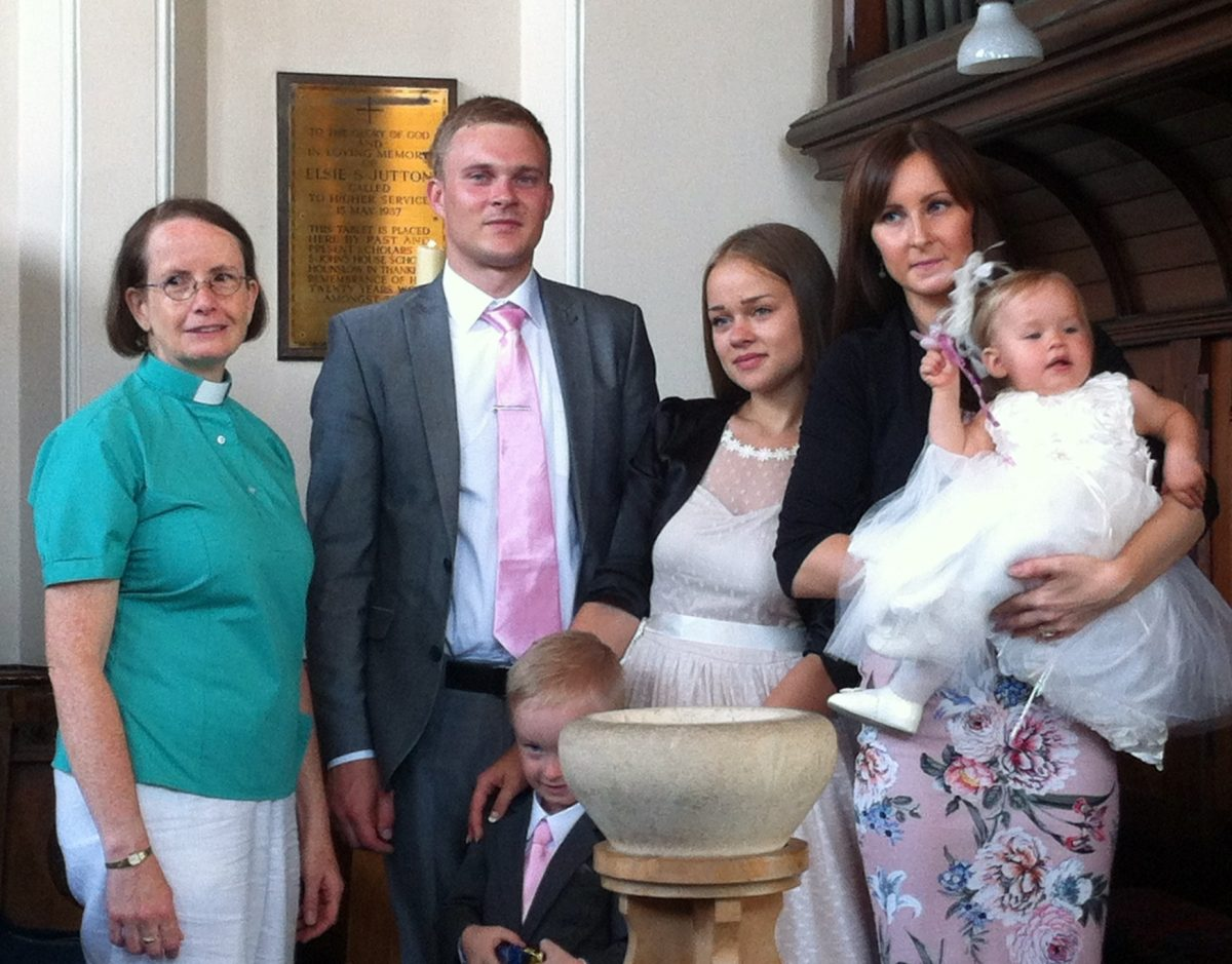 Revd. Viv Randles celebrating baptism at Hounslow United Reformed Church